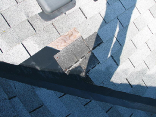 This pic demonstrates the importance of a physical<br>roof inspection, regardless of the age of the building.